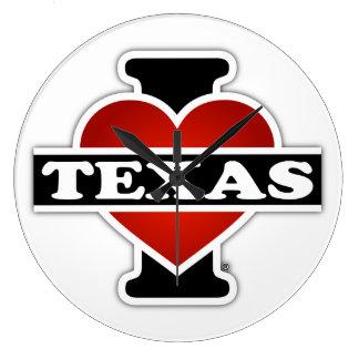 I Heart Texas Large Clock