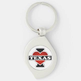 I Heart Texas Silver-Colored Swirl Metal Keychain