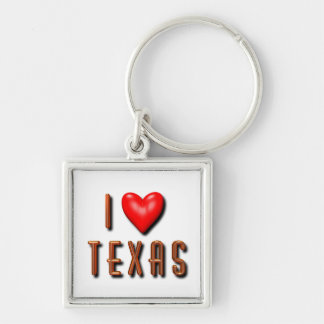I Heart Texas Silver-Colored Square Keychain