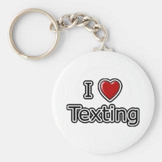 I Heart Texting Basic Round Button Keychain
