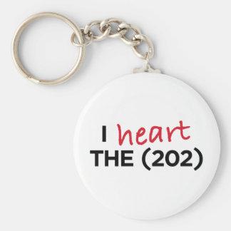 I heart the (202) basic round button keychain
