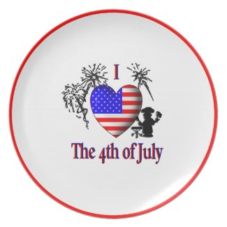 I Heart The 4th of July Dinner Plate