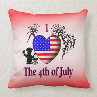 I Heart the 4th of July Red American Mojo Pillow