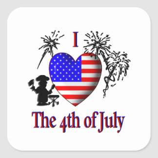 I Heart the 4th of July Square Sticker