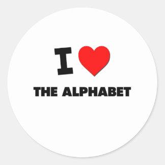 I Heart The Alphabet Round Sticker