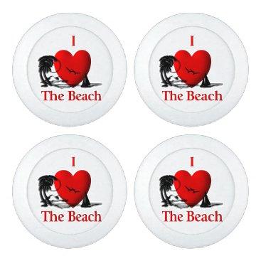 Beach Themed I Heart The Beach Button Covers