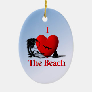 I Heart The Beach Ceramic Ornament