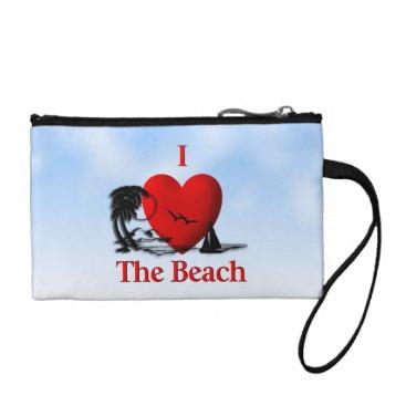 Beach Themed I Heart The Beach Coin Purse