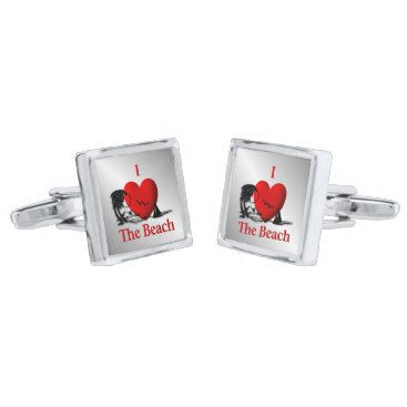 Beach Themed I Heart The Beach Cufflinks