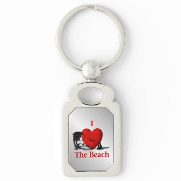 Beach Themed I Heart The Beach Keychain