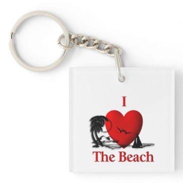 Beach Themed I Heart The Beach Keychain
