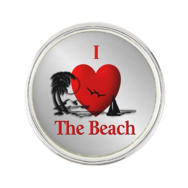 Beach Themed I Heart The Beach Lapel Pin
