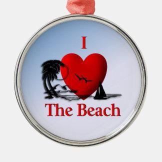 I Heart The Beach Metal Ornament