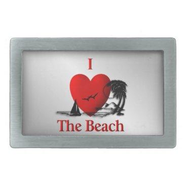 Beach Themed I Heart The Beach Rectangular Belt Buckle