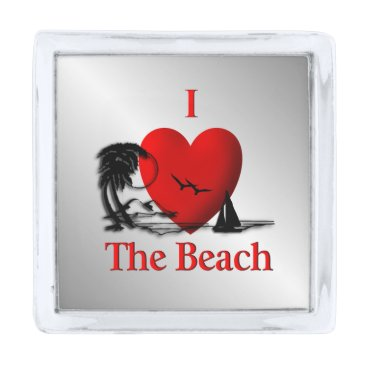 Beach Themed I Heart The Beach Silver Finish Lapel Pin