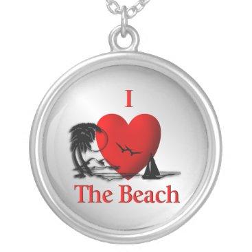 Beach Themed I Heart The Beach Silver Plated Necklace