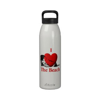 I Heart the Beach Water Bottle