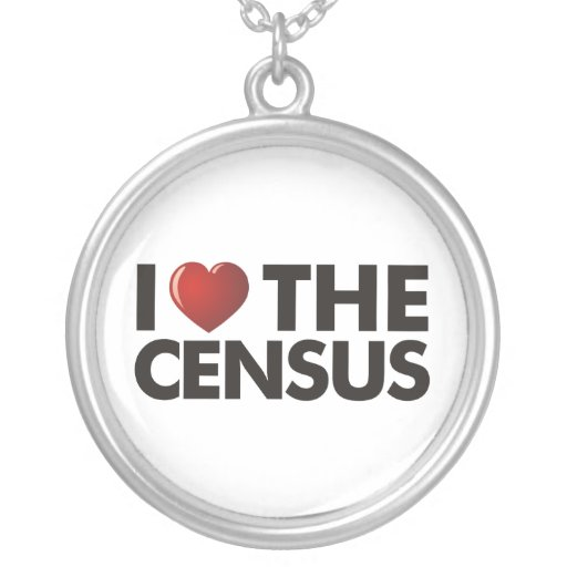 I Heart The Census Round Pendant Necklace