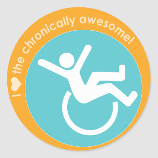 I {heart} the Chronically Awesome Round Stickers