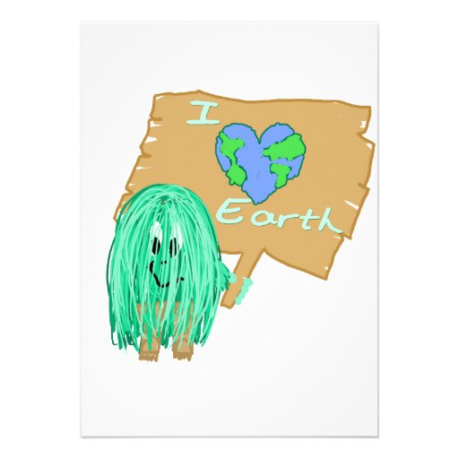 I heart the earth personalized announcements