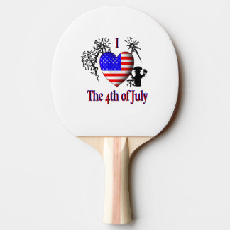 I Heart The Fourth of July Ping Pong Paddle