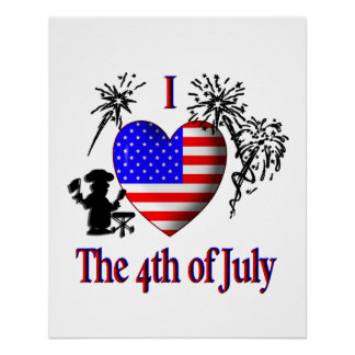 I Heart The Fourth of July Poster
