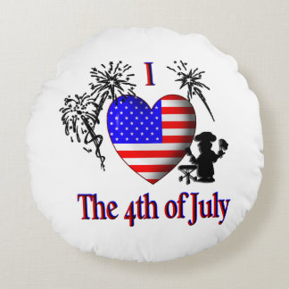 I Heart The Fourth of July Red Round Pillow