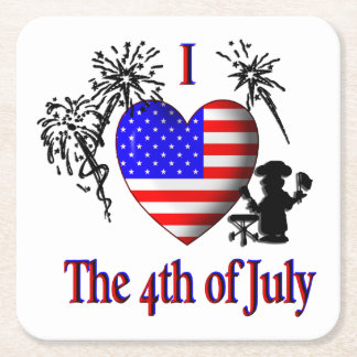 I Heart The Fourth of July Square Paper Coaster