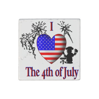 I Heart The Fourth of July Stone Magnet