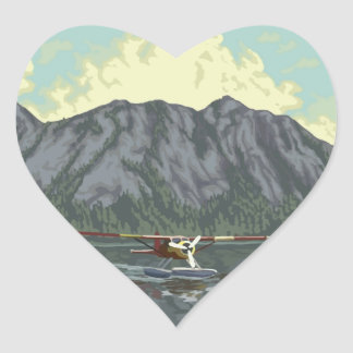 I Heart the Mountains and Seaplanes Heart Sticker