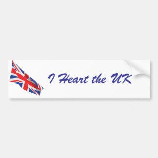 I Heart the UK/Union Jack Flag Bumper Sticker