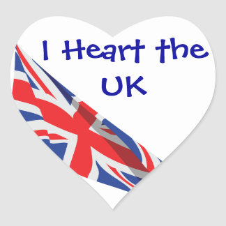 I Heart the UK/Union Jack Flag Stickers
