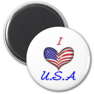 I (Heart) the USA 2 Inch Round Magnet
