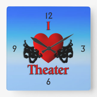 I Heart Theater Comedy and Tragedy Blue Wall Clock