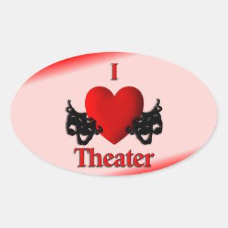 I Heart Theater Oval Sticker