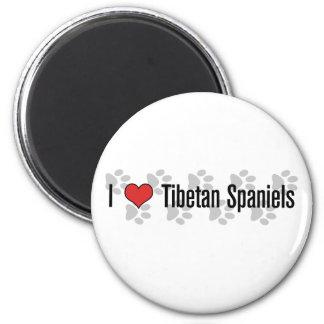 I (heart) Tibetan Spaniels 2 Inch Round Magnet