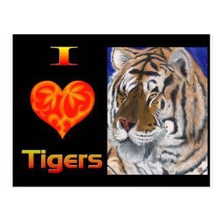 I heart tigers postcards