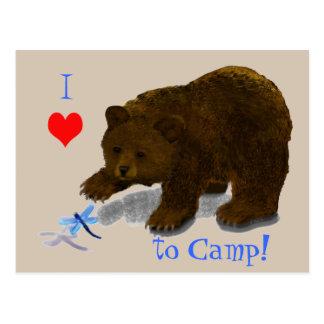 """I heart to Camp!"" Bear Cub Postcard"