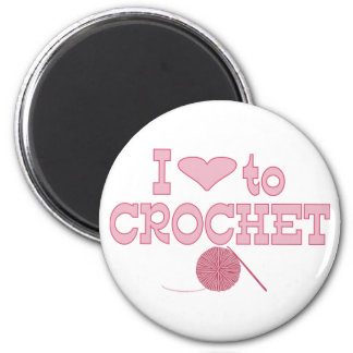 I heart to Crochet 2 Inch Round Magnet