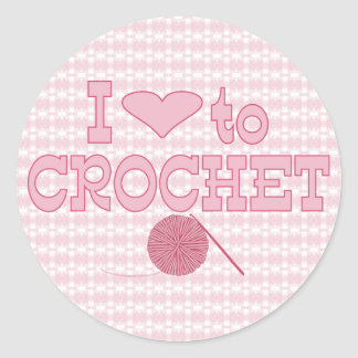 I heart to Crochet Classic Round Sticker