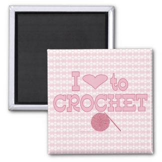 I heart to Crochet 2 Inch Square Magnet