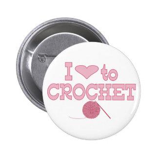 I heart to Crochet Pinback Button