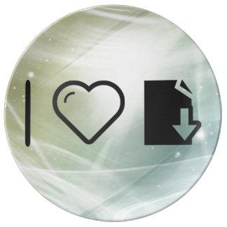 I Heart To Download Folders Porcelain Plate