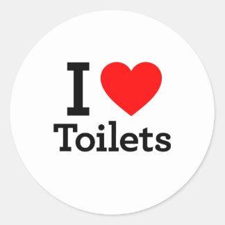 I Heart Toilets Round Stickers