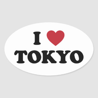 I Heart Tokyo Japan Oval Sticker