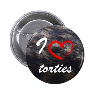 I heart torties cat button
