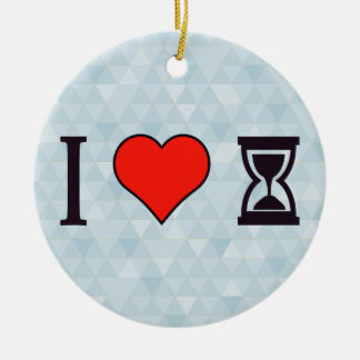 I Heart Tp Use Hourglass Ceramic Ornament