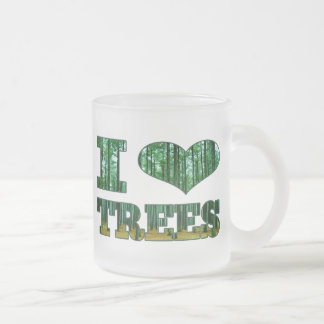 I Heart Trees Frosted Glass Coffee Mug