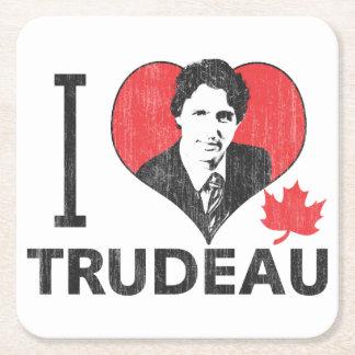 I Heart Trudeau Square Paper Coaster