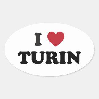 I Heart Turin Italy Oval Sticker